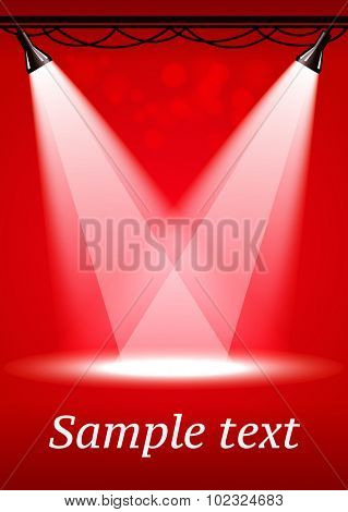 Red spotlights background with two projectors