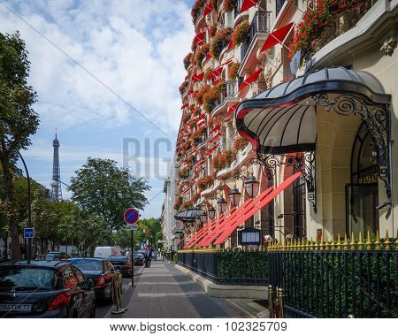 Hotel Plaza Athenee on Avenue Montaigne in Paris