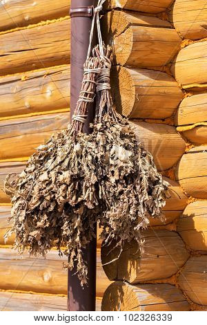 Harvested Oak Brooms For A Bath, Hang In The Barn