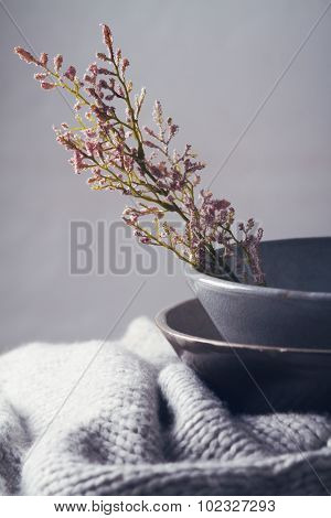 Still Life Gray Vintage Bowls With Flowers