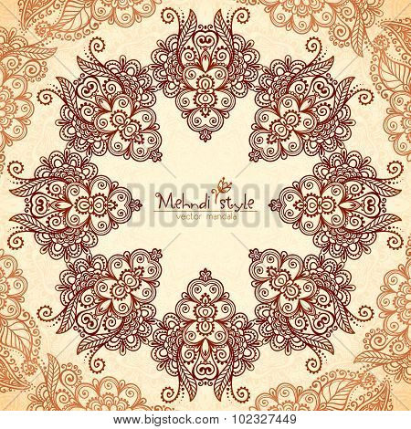 Vintage round seamless pattern in Indian mehndi style