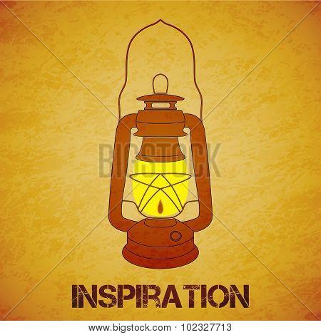 Vintage Mine Kerosene Lantern Over Yellow Grunge