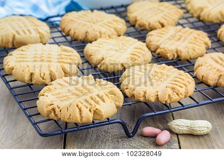 Freshly Baked Homemade Peanut Butter Cookies On A Cooling Rack