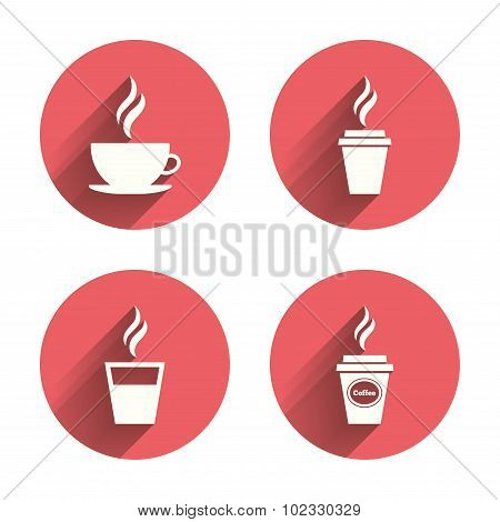 Coffee cup icon. Hot drinks glasses symbols.