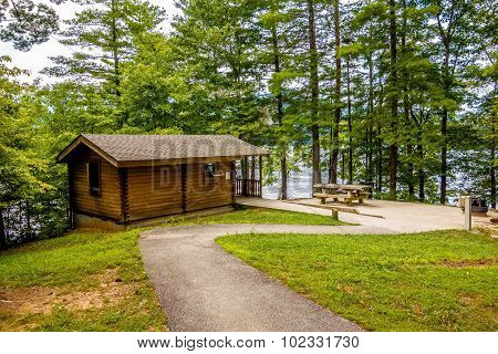 Log Cabin Surrounded By The Forest At Lake Santeetlah North Carolina Usa