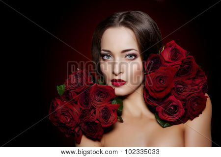 Beautiful model woman rose flower in hair beauty salon makeup Young modern girl in luxurious spa Lady make up Mascara for long lashes lipstick on lips eye shadow shiny hair  Products Treatment