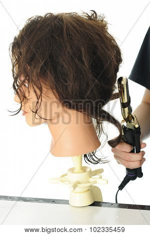 Close-up image of cosmetology practice head.  The arm and hand of a student is shown curling its hair with a curling iron.  On a white background.