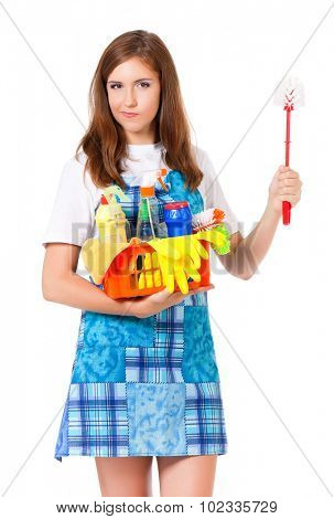 Young housewife with cleaning supplies and toilet brush, isolated on white background