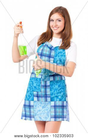 Young housewife with cleaning cloth and spray bottle, isolated on white background