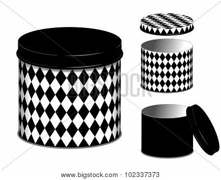 Canister, Harlequin Diamond Design Cans And Lids
