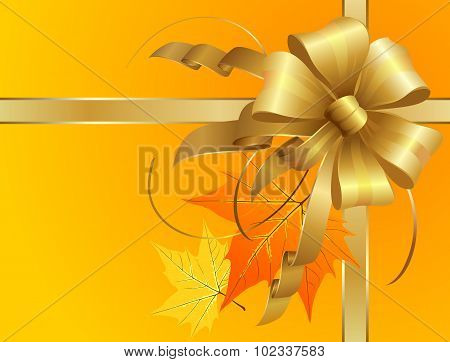 Thanksgiving Bow With Autumn Leaves
