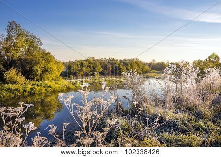 The first frost. Siberian river in autumn attire. Russia,Siberia,Novosibirsk region,Kolyvan district