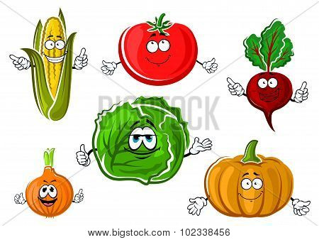Happy autumnal vegetable cartoon characters