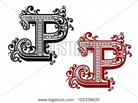 Capital letter P with curly flourishes