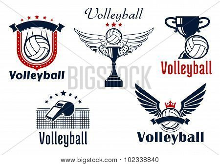 Volleyball game emblems with sport items