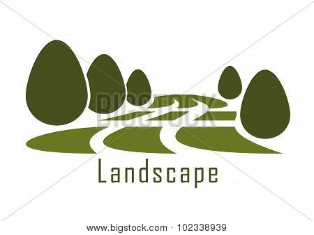 Park landscape icon with lawn and bushes
