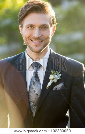 Attractive groom on his wedding day