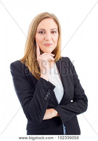 Professional successful business woman isolated on white background
