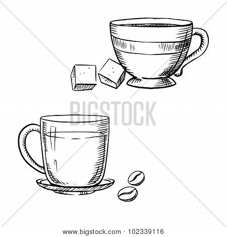 Cup of coffee with beans, tea and sugar