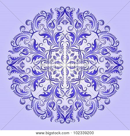 Vector ethnic pattern of blue ornament