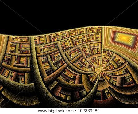 Illustration Of Abstract Tech Background With Fractal Wave Of In