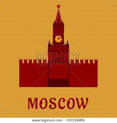 Moscow Kremlin landmark flat symbol