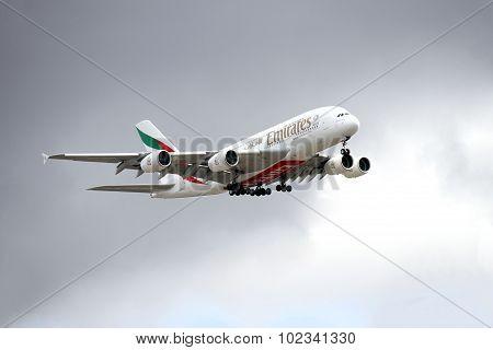 An aircraft flying at Changi airport
