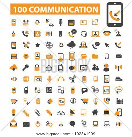 100 communication, connection icons