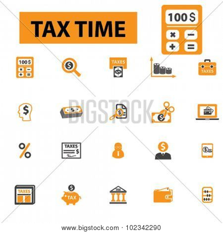 tax, accounting, tax time icons