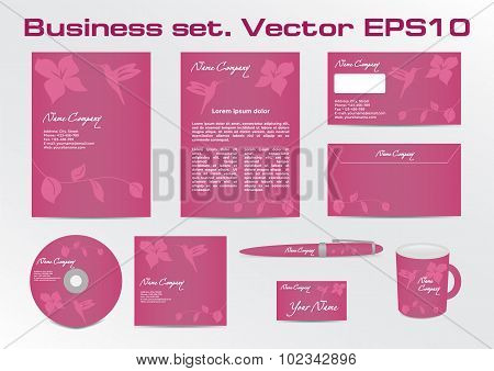 Business set, hummingbird logotype design for corporate identity of your company