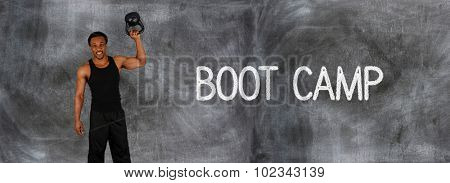 Athlete involved in fitness against a chalkboard