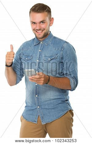 Young Man Holding A Cellphone, Thumb Up