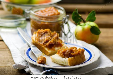 Caramel Apple Butter On Bread Slices