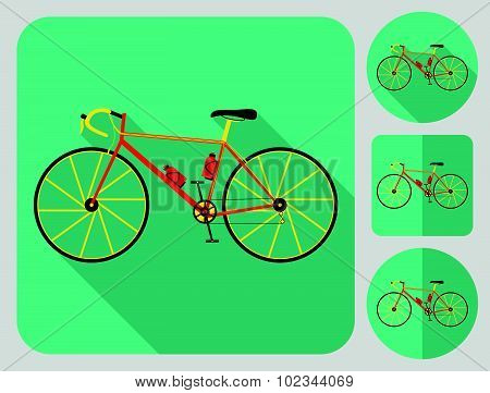 Road bike icon. Flat long shadow design. Bicycle icons series.