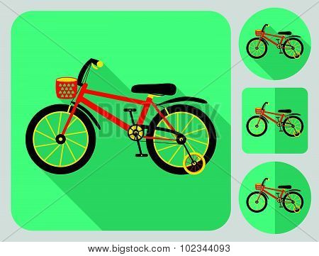 Kids bike icon. Flat long shadow design. Bicycle icons series.