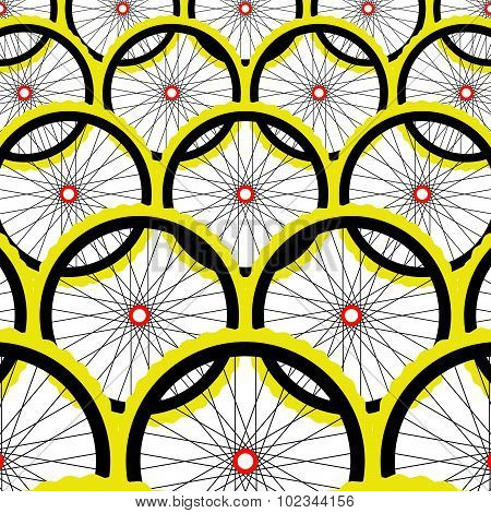 Background with bike wheels. Bicycle wheels with rims and spokes. Vector illustration.