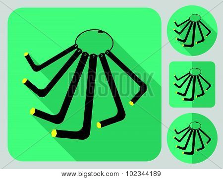 Hex key icon. Bike accessories. Flat long shadow design. Bicycle icons series.