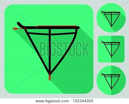 Rear rack icon. Bike accessories. Flat long shadow design. Bicycle icons series.