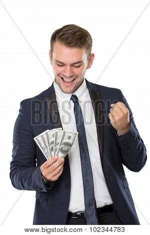 Businessman Smiling While Holding Some Money