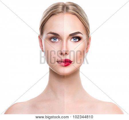 Beautiful young blonde woman before and after make-up applying. Comparison portrait. Two parts of model girl face- with and without makeup. Face divided in two parts, with bright make up and natural