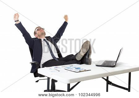 Businessman Sitting, Both Foot On The Table