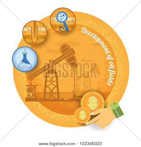 oil derrick with icon of process of oil production.Vintage retro style finance icon development of oil field on yellow circle background