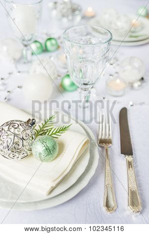 Beautiful Tableware On Christmas Table