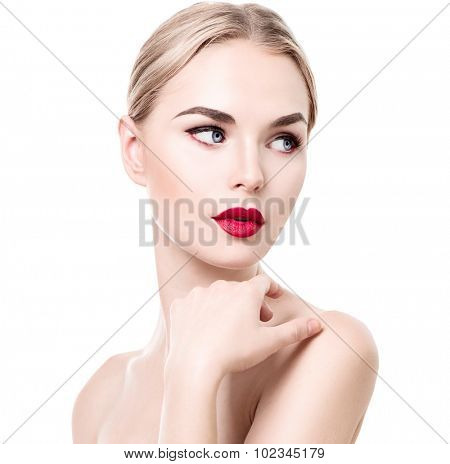 Beautiful woman portrait isolated on white background. Attractive model girl with soft skin, red lips, perfect make-up over white. Youth and Skin Care Concept