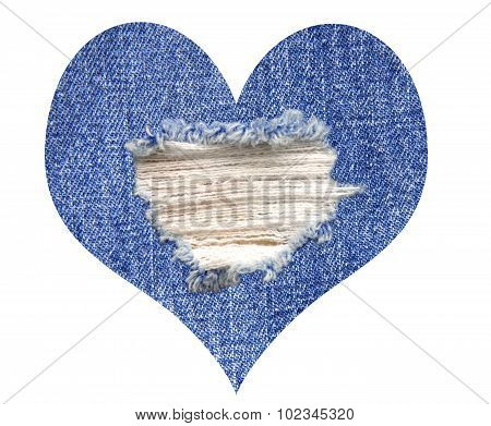 Old Blue Denim Jeans As Heart Symbol Isolated On White