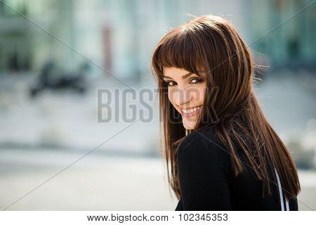 Woman in street portrait