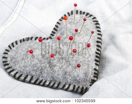 Heart shaped pincushion