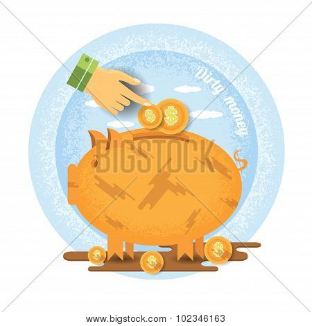 hand pointer put in coin in dirty piggy bank stand in puddle of mud.Vintage retro style dirty money icon on blue circle background
