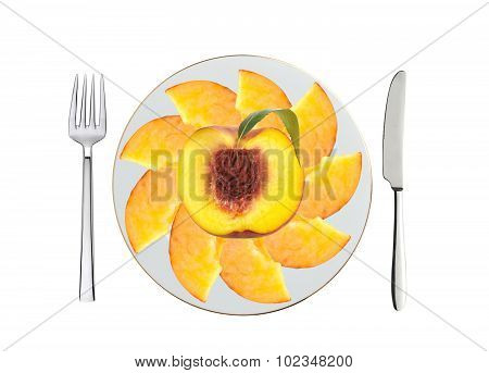 Juicy Peach On White Plate, Spoon And Fork Isolated On White