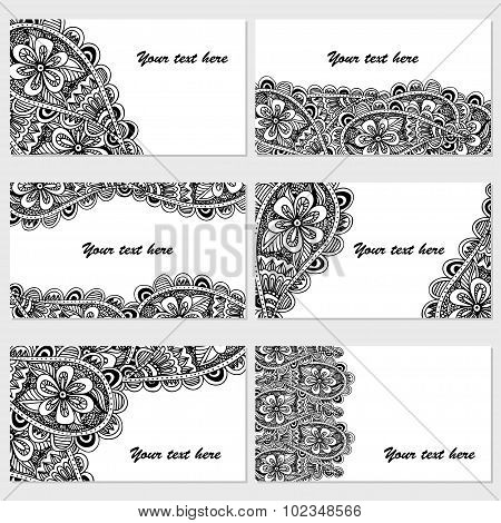 Set Of Six Business Cards. Vintage Pattern In Retro Style With Doodle.